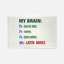 My brain, 90% Latin dance Rectangle Magnet