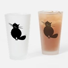 Unique Fat black cats Drinking Glass