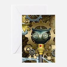 Steampunk, awesome dark mechanical owl Greeting Ca