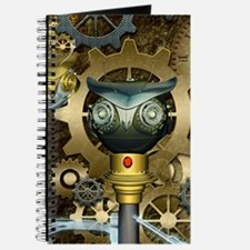 Steampunk, awesome dark mechanical owl Journal
