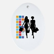 Funny Shopping Oval Ornament