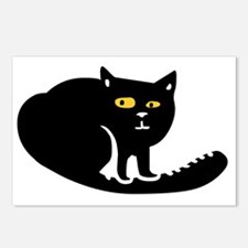 Funny Fat black cats Postcards (Package of 8)
