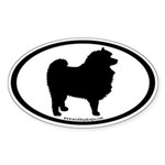 Keeshond Dog Breed (inner border) Oval Sticker