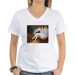 BALLERINA & BLACK CAT Women's V-Neck T-Shirt