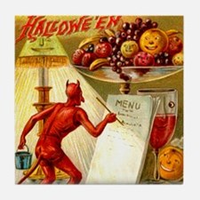 Halloween Devil & Menu Postcard Art Tile
