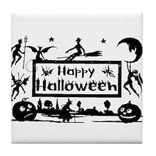 Halloween Postcard Silhouette Art Tile Coaster