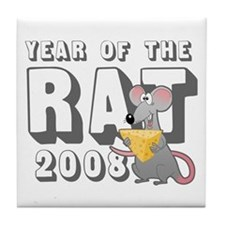 Funny 2008 Year Rat Tile Coaster