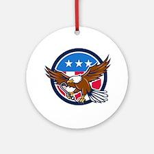 American Eagle Clutching Towing J Hook USA Flag Ci