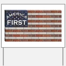 Trump Brick Wall Flag Yard Sign