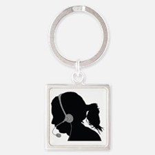 Cute Call center Square Keychain