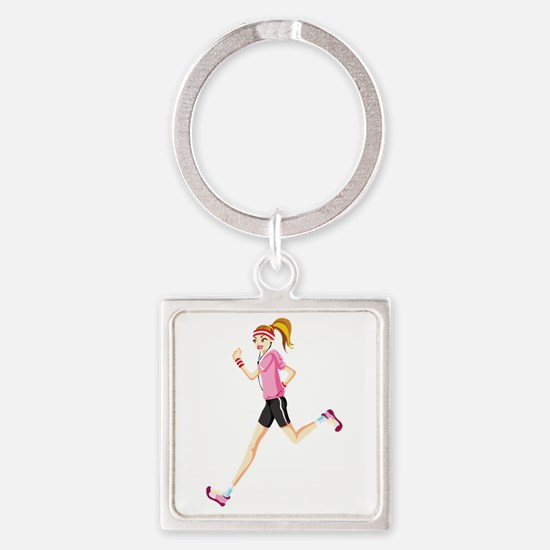Funny Running girl Square Keychain