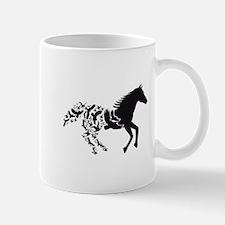 Black horse with flying birds Mugs