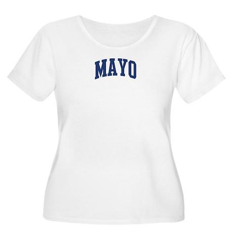 MAYO design (blue) Women's Plus Size Scoop Neck T-