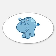 Cute Hippos Sticker (Oval)