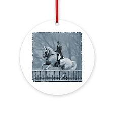 Winter Christmas dressage horse Ornament (Round)