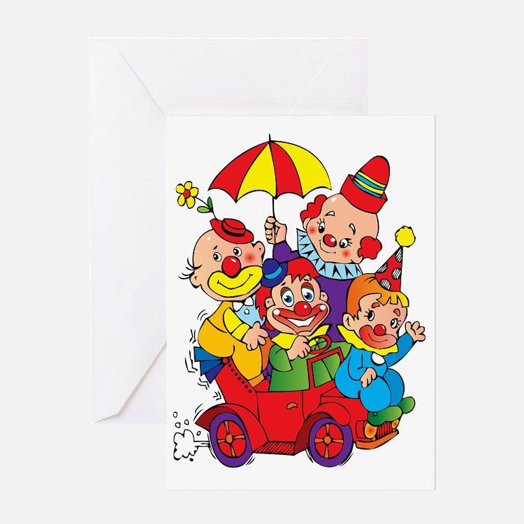 Cute Clowns Greeting Card