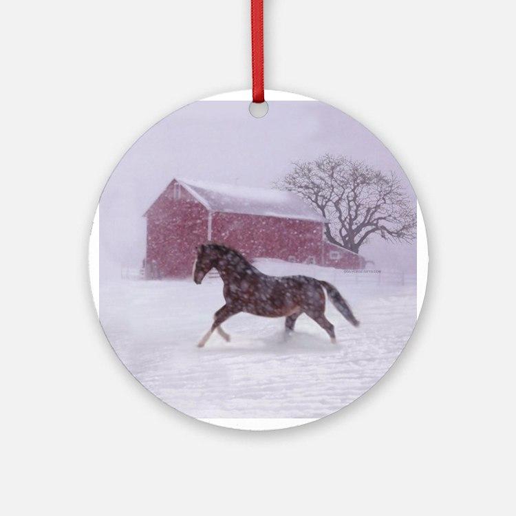 Let It Snow! Christmas Tree Horse Barn Ornament