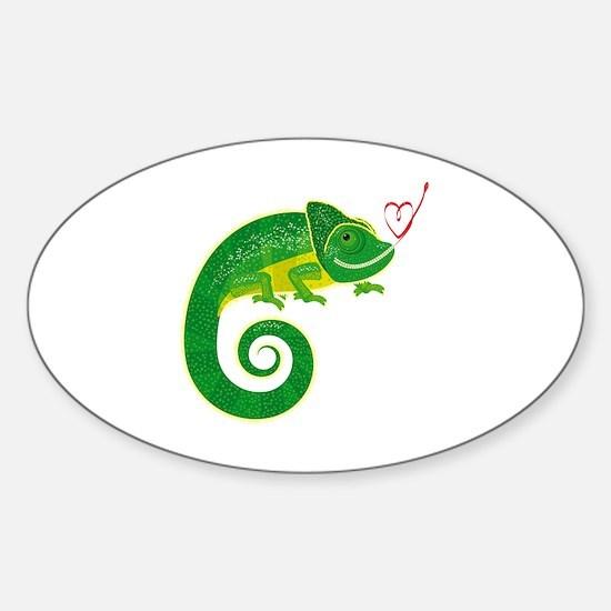 Funny Chameleon Sticker (Oval)