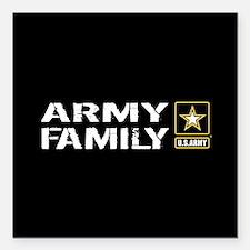"U.S. Army: Family (Black Square Car Magnet 3"" x 3"""