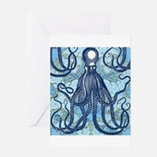 Antique Octopus on Background Greeting Cards