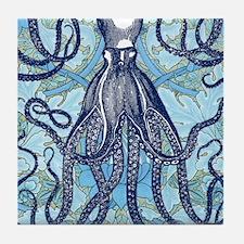 Antique Octopus on Background Tile Coaster