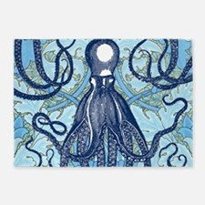 Antique Octopus on Background 5'x7'Area Rug