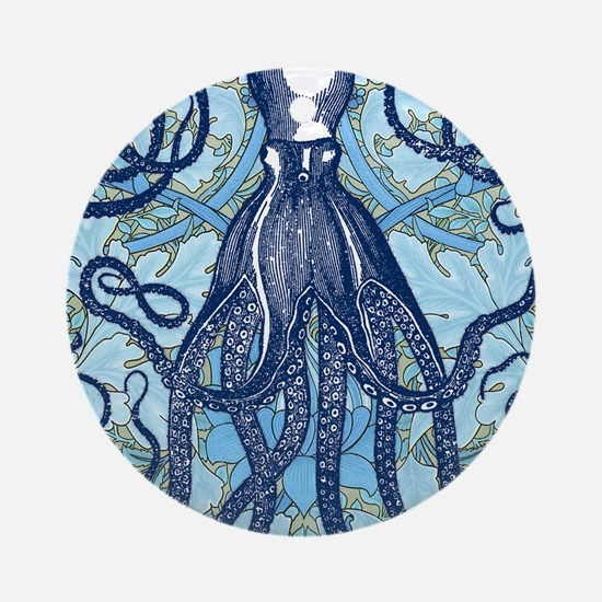 Antique Octopus on Background Round Ornament