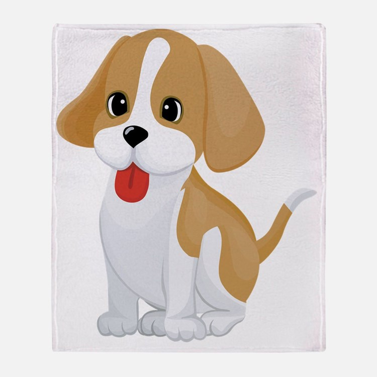 Cute Free cartoon dog pictures Throw Blanket