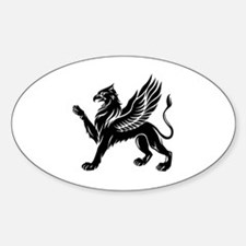 Funny Lion coat of arms Sticker (Oval)