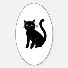 Cool Black cat face Sticker (Oval)