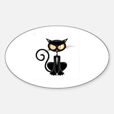 Unique Halloween cat Sticker (Oval)