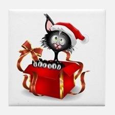 Unique Funny cat face Tile Coaster