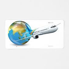 Cute Globe design Aluminum License Plate