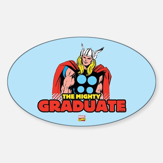 Thor The Mighty Graduate Sticker (Oval)