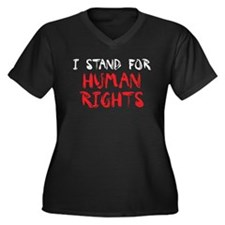 Human Rights Women's Plus Size V-Neck Dark T-Shirt