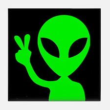 Alien Peace Sign Tile Coaster