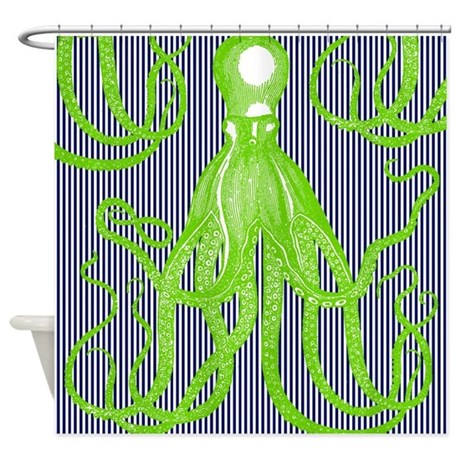 Lime Green Antique Octopus On Navy Shower Curtain By ADMIN CP62762231