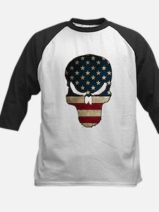 Punishing Skull with American Flag Baseball Jersey
