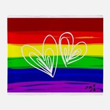Rainbow hearts gay Throw Blanket