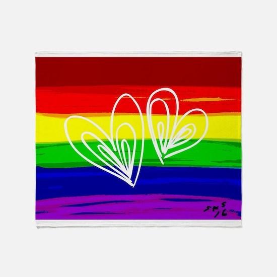 Rainbow hearts gay Throw Blanket