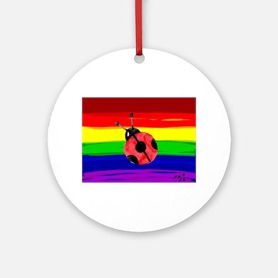 Lady bug rainbow art Round Ornament