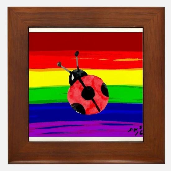 Lady bug rainbow art Framed Tile