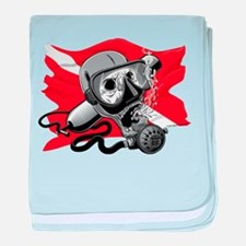 Diver Down Skull baby blanket