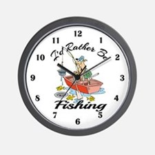 I'd Rather Be Fishing Wall Clock