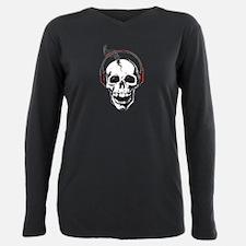 DJ Skull Plus Size Long Sleeve Tee