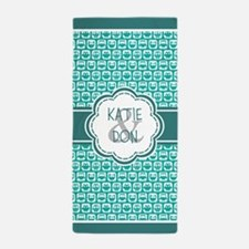Personalized Owl Gift Teal Beach Towel