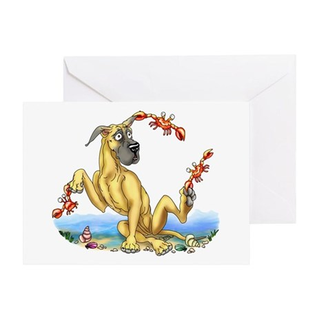 Great Dane Fawn Crabby Greeting Card