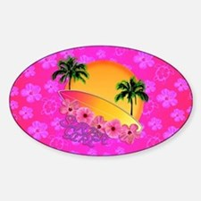 Surfer Girl Pink Floral Decal