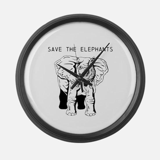 Save the Elephants Large Wall Clock