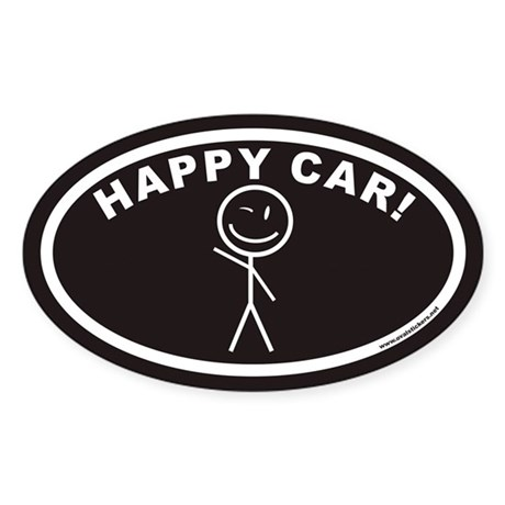 HAPPY CAR! Euro Oval Sticker with Smiling Stick Fi